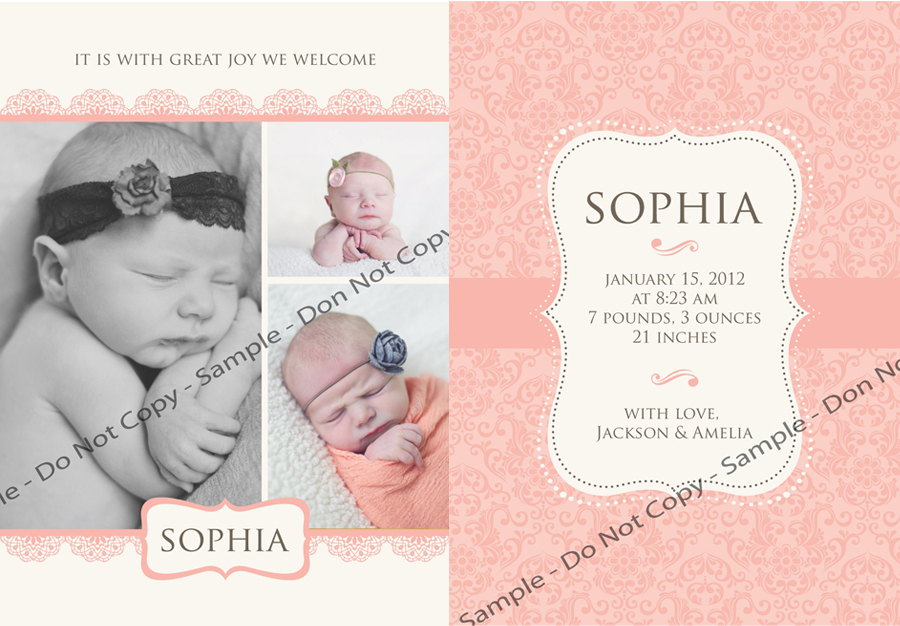 Newborn Birth Announcements Girl – Sample Baby Announcement